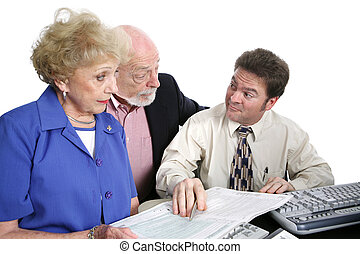 Accounting Series - Shady Accountant - A senior couple going...