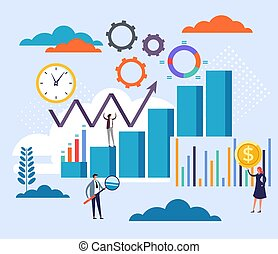 Accounting statistics management concept. Vector flat cartoon graphic design illustration