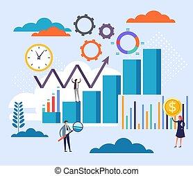 Accounting statistics management concept. Vector flat cartoon graphic design illustration