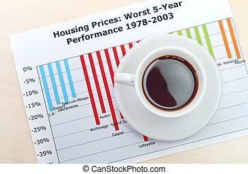 accounting., taza de café, en, document., gráfico, y, diagrama