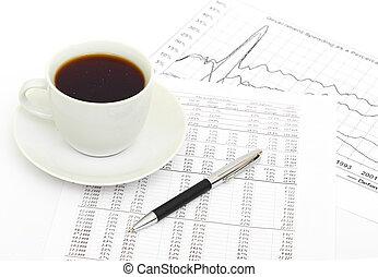 accounting., taza de café, en, document.