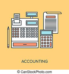 Vector illustration of accounting flat line design concept.