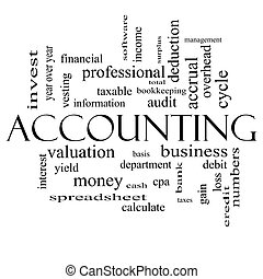 Accounting Word Cloud Concept in black and white with great...
