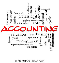 Accounting Word Cloud Concept in red caps with great terms...