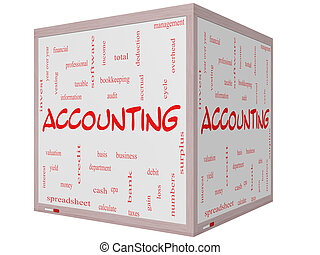 Accounting Word Cloud Concept on a 3D cube Whiteboard