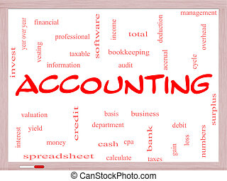 Accounting Word Cloud Concept on a Whiteboard with great...