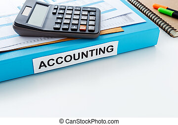 Accounting work background with space