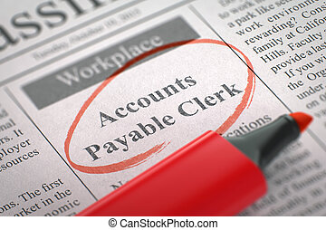 Accounts Payable Clerk Hiring Now. - Newspaper with...