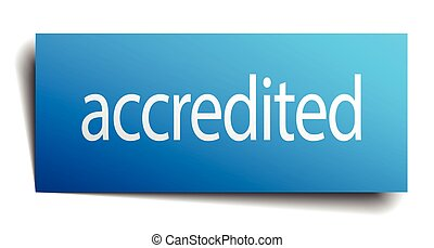 accredited blue square isolated paper sign on white
