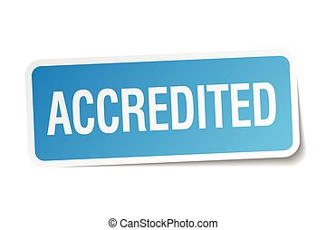 accredited blue square sticker isolated on white