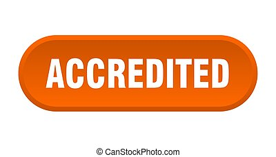 accredited button. accredited rounded orange sign. accredited