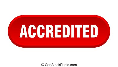 accredited button. accredited rounded red sign. accredited