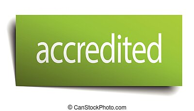 accredited green paper sign on white background
