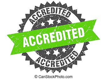 accredited grunge stamp with green band. accredited