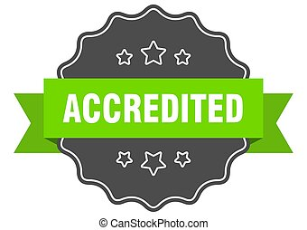 accredited isolated seal. accredited green label. accredited