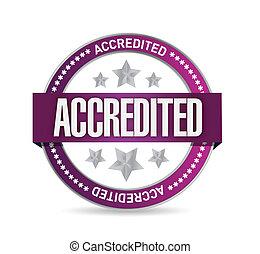 accredited, pečeť, dupnutí, ilustrace, design
