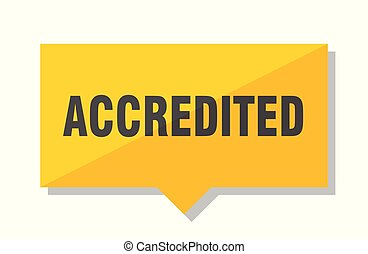 accredited price tag - accredited yellow square price tag