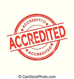 Accredited red stamp with rubber stamp icon isolated on white background.