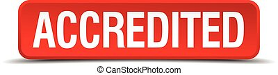 accredited red three-dimensional square button isolated on...