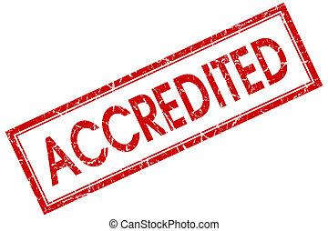 accredited, rode plein, postzegel, vrijstaand, op wit, achtergrond