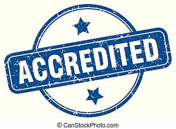 accredited round grunge isolated stamp
