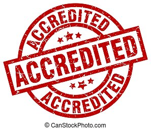 accredited round red grunge stamp