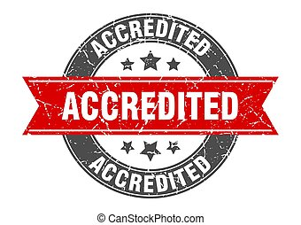 accredited round stamp with red ribbon. accredited