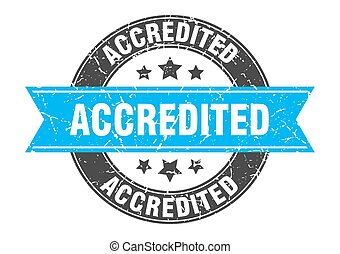 accredited round stamp with turquoise ribbon. accredited