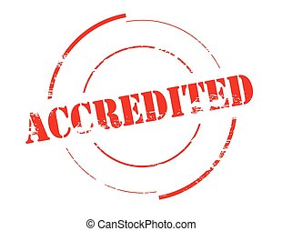 Accredited - Rubber stamp with word accredited inside,...