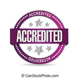 accredited seal stamp illustration design over a white ...