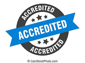 accredited sign. accredited blue-black round ribbon sticker