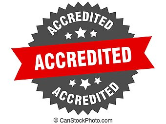 accredited sign. accredited red-black circular band label