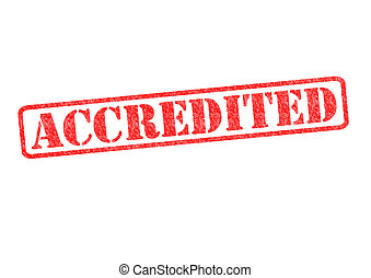 ACCREDITED rubber stamp over a white background.