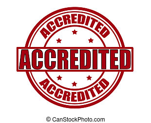 Accredited - Stamp with word accredited inside, vector...