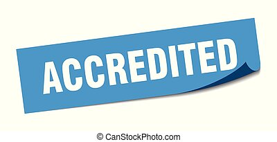 accredited sticker. accredited square isolated sign. accredited
