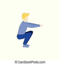 accroupi, exercice, jeune, portrait, homme, vue côté