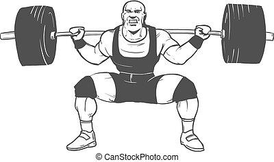 accroupi, powerlifting, homme