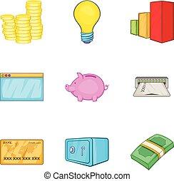 Accrual icons set, cartoon style - Accrual icons set....