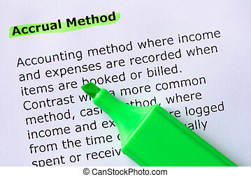 Accrual Method words highlighted on the white background