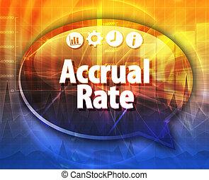 Accrual rate Business term speech bubble illustration -...