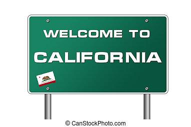accueil, à, californie, panneaux signalisations, illustration