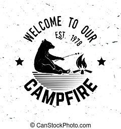 accueil, à, notre, campfire., vecteur, illustration.
