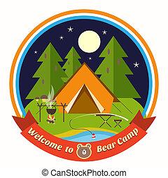 accueil, écusson, ours, camp