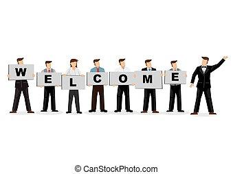 accueil, cartes, tenue, business, célébrer, gens, arrivée, titre, arrière-plan., nouveau, colleague., planche, illustration, blanc