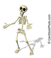 accueil, dessin animé, squelette