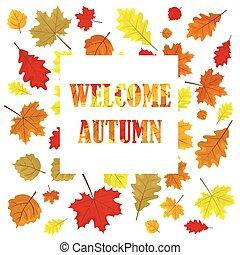 accueil, illustration., panel., saison, autumn., ventes, leaves., arrière-plan., vecteur, conception, pousse feuilles, vente, bannière, blanc