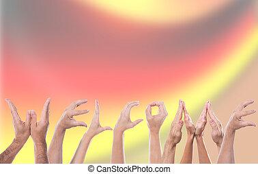 accueil, mot, lot, allemand, formé, drapeau, fond, mains