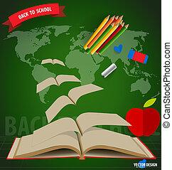 accueil, ouvert, école, books., voler, dos, vecteur, illustration.