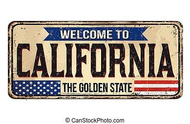 accueil, vendange, signe métal, californie, rouillé