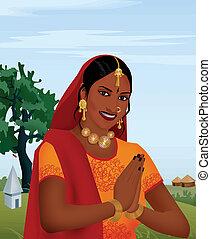 accueillir, hands;, indien, fille souriante, geste, joindre
